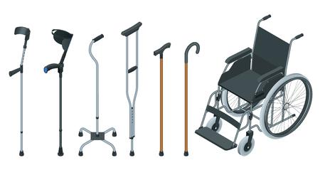 Set isometrico di ausili per la mobilità tra cui sedia a rotelle, deambulatore, stampelle, bastone quadruplo e stampelle per avambraccio. Illustrazione piatta. Concetto di assistenza sanitaria Vettoriali