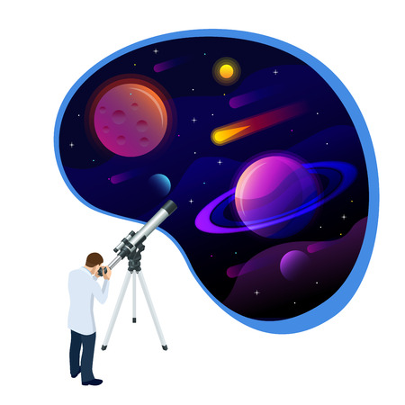 Isometric concept of Astronomer looking through telescope on planets, stars and comets. Astronomical telescope tube and cosmos. Vector illustration. Vektorgrafik