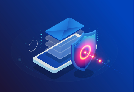 Isometric Protection network security and safe your data concept. Web page design templates Cybersecurity. Digital crime by an anonymous hacker. Vector illustration. 版權商用圖片 - 125779316