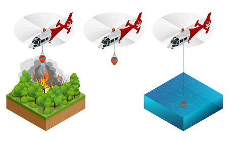 helicopter dropping water on a fire, forest fire helicopter,
