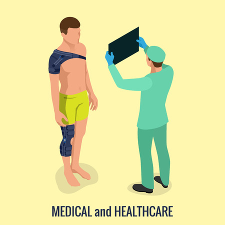 Knee pain or sprains of the knee joint. Shoulder pain or sprains of the shoulder joint. Rehabilitation after trauma. Orthopedics and medicine. Vector