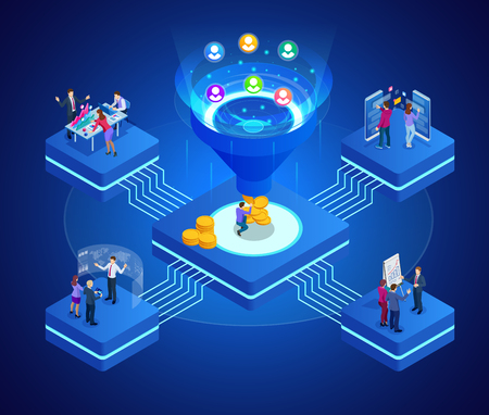 Isometrische online trechtergeneratieverkoop, klantgeneratie, digitale marketing en e-business technologieconcept. Bestemmingspaginasjabloon voor web. Internetmarketing vectorillustratie. Vector Illustratie
