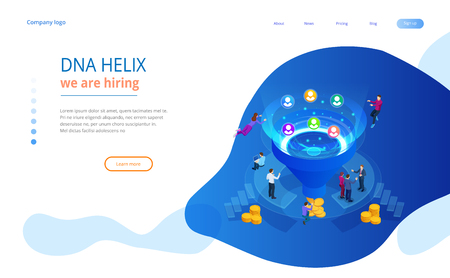 Isometric online funnel generation sales, customer generation, digital marketing and e-business technology concept. Landing page template for web. Internet marketing vector illustration.