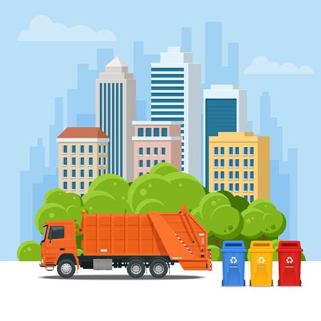 Camión de basura o camión de reciclaje en la ciudad. Equipo de reciclaje y aprovechamiento de basura. Concepto de reciclaje de residuos de la ciudad con camión de basura. Ilustración de vector.