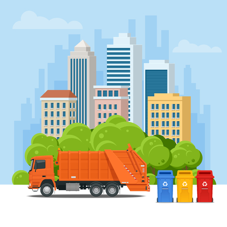 Garbage truck or Recycle truck in city. Garbage recycling and utilization equipment. City waste recycling concept with garbage truck. Vector illustration.