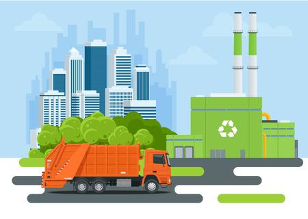 Śmieciarka lub śmieciarka w mieście. Sprzęt do recyklingu i utylizacji śmieci. Koncepcja recyklingu odpadów miejskich z śmieciarka. Ilustracja wektorowa. Ilustracje wektorowe