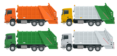 Flat Garbage truck. Garbage recycling and utilization equipment. City waste recycling concept with garbage truck Vektorgrafik