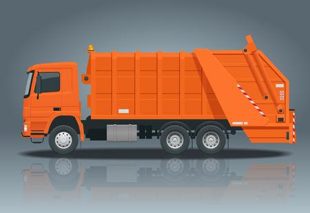 Camión de basura plano. Equipo de reciclaje y aprovechamiento de basura. Concepto de reciclaje de residuos de la ciudad con camión de basura