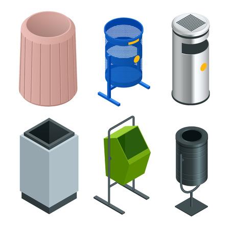 Set isometrico di cestino di metallo per la carta straccia in ufficio. Cestino vuoto, bidone della spazzatura pulito. Illustrazione vettoriale.