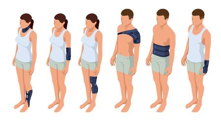 Injury neck, shoulder, arm, leg, back, osteoporosis. Immobilizer. Rehabilitation after trauma Orthopedics and medicine Isometric Vector illustration