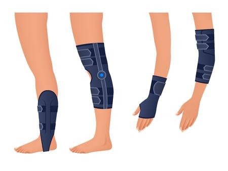 Injury shoulder, arm, leg, back, osteoporosis. Immobilizer. Rehabilitation after trauma Orthopedics and medicine Isometric Vector illustration