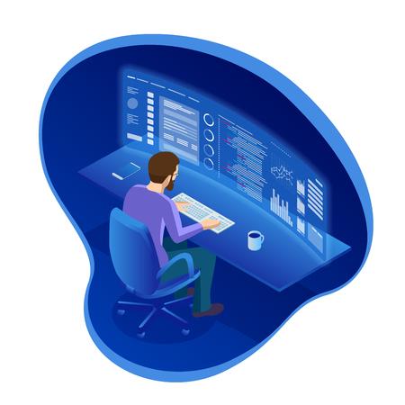 El programador isométrico que trabaja en un software desarrolla la oficina de la empresa o el comercio de acciones de empresario. El operador de bolsa está mirando gráficos, índices y números en múltiples pantallas de computadora virtuales.