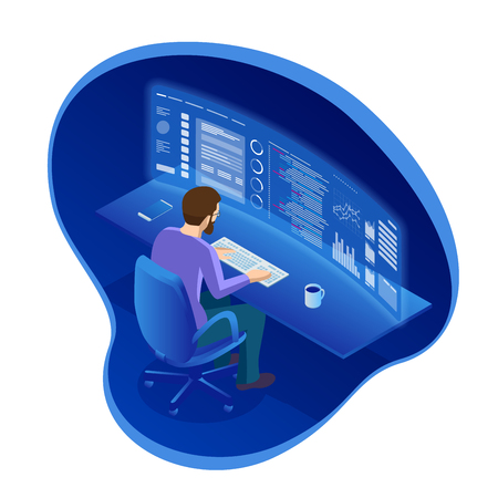 Isometric programmer working in a software develop company office or Businessman Trading Stocks. The stock trader is looking at graphs, indexes and numbers on virtual multiple computer screens. Ilustracja