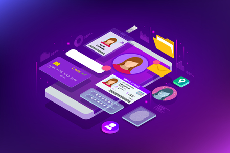 Isometric Personal Data Information App, Identity Private Concept. Digital data Secure Banner. Biometrics technology vector illustration for personal identity recognition and access authentication. Ilustracja