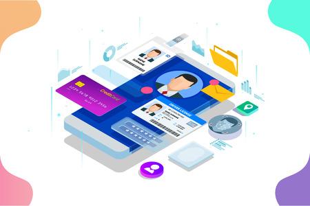 Application d'informations sur les données personnelles isométriques, concept privé d'identité. Bannière sécurisée de données numériques. Illustration vectorielle de la technologie biométrique pour la reconnaissance d'identité personnelle et l'authentification d'accès.