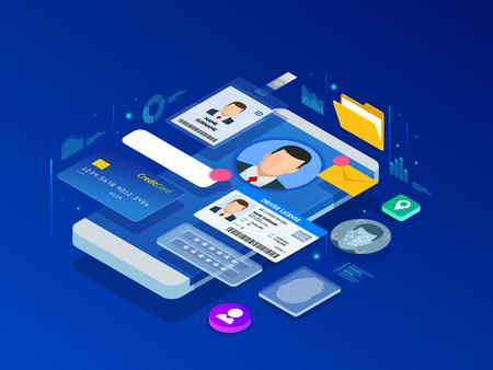 Isometrische app voor persoonlijke gegevensinformatie, identiteitsprivéconcept. Digitale gegevens Secure Banner. Biometrie technologie vectorillustratie voor persoonlijke identiteitsherkenning en toegangsverificatie. Vector Illustratie