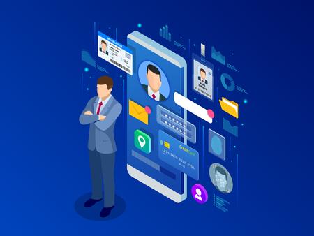 App di informazioni sui dati personali isometrica, concetto di identità privata. Banner protetto di dati digitali. Illustrazione vettoriale di tecnologia biometrica per il riconoscimento dell'identità personale e l'autenticazione dell'accesso.