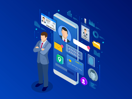 Isometric Personal Data Information App, Identity Private Concept. Digital data Secure Banner. Biometrics technology vector illustration for personal identity recognition and access authentication. Vectores
