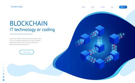 Concepto isométrico de computadoras cuánticas, blockchain, tecnología de TI o codificación.