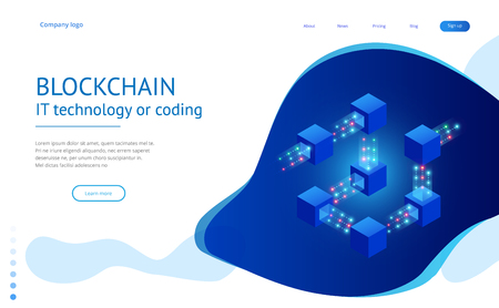 Isometric concept of quantum computers, blockchain, IT technology or coding.