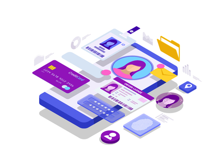 Isometric Personal Data Information App, Identity Private Concept.
