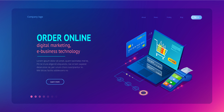 Compra online, venta, consumismo y tienda online. Plantilla de compras en línea de smartphone inteligente isométrica. Marketing móvil y comercio electrónico. Ilustración de vector.