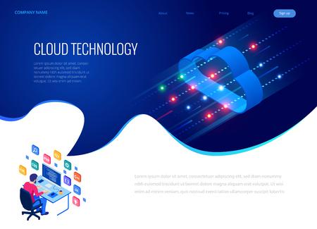 Isometrische moderne Cloud-Technologie und Netzwerkkonzept. Geschäft mit Web-Cloud-Technologie. Internet-Datendienste-Vektorillustration.