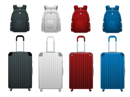 Différents sacs de bagages de voyage d'affaires et de vacances en famille colorés, bagages à main modernes