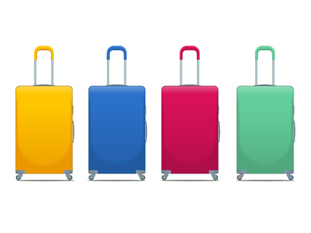 Different colorful Business and family vacation travel luggage bag, handbag baggage modern. Vector Illustration