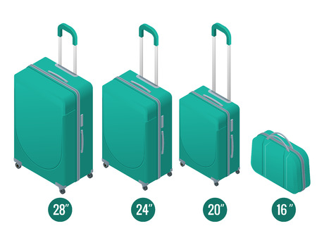 Isometric green business and family vacation travel luggage bag, handbag baggage modern.