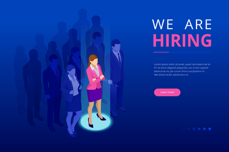 Isometric hiring and recruitment concept for web page, banner, presentation. Job interview, recruitment agency vector illustration.