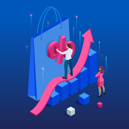 Growth chart stats, big sale, sellout, retail, Black Friday discount. Investors and traders achieve their goals. Vector isometric illustration