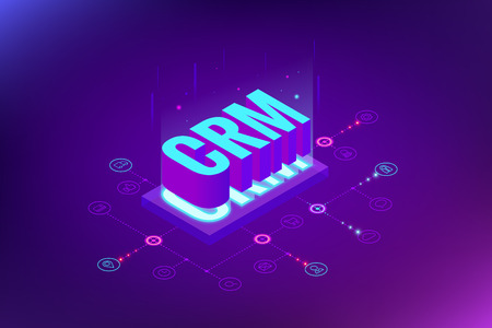 Banner web CRM isometrico. Concetto di gestione delle relazioni con i clienti. Illustrazione di vettore di tecnologia Internet di affari. Vettoriali