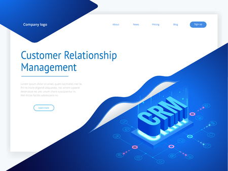 Isometric CRM web banner. Customer relationship management concept. Business Internet Technology vector illustration.