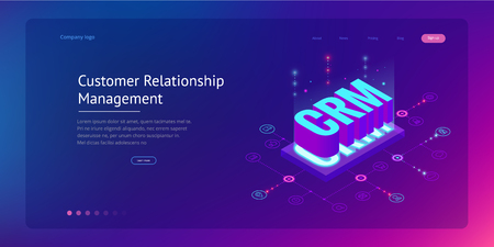 Isometric CRM web banner. Customer relationship management concept.