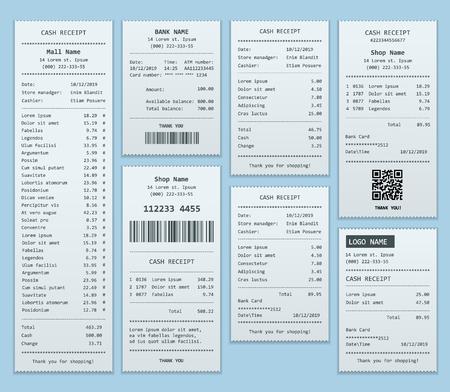 Stellen Sie Papierscheck und Finanzscheck isoliert ein. Kassenbelege gedruckt auf Thermopapier.