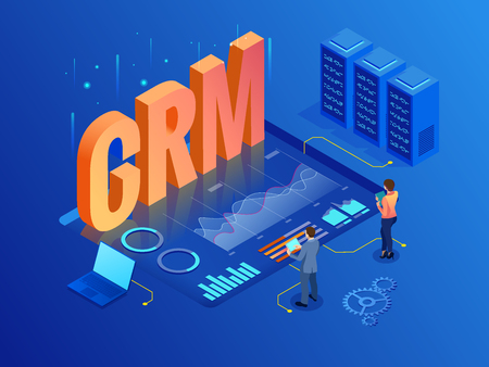 Isometric CRM web banner. Customer relationship management concept. Business Internet Technology vector illustration.