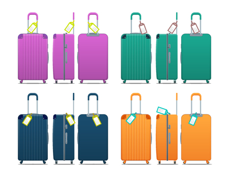 Colorful set of modern plastic suitcases with wheels, retractable handle and luggage tag label on suitcase with country code and barcode. Polycarbonate suitcases isolated on white Çizim