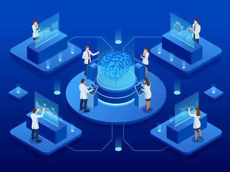 Développement scientifique isométrique du concept d'intelligence artificielle. Cerveau électrique. Laboratoire de recherche sur le cerveau. illustration vectorielle.