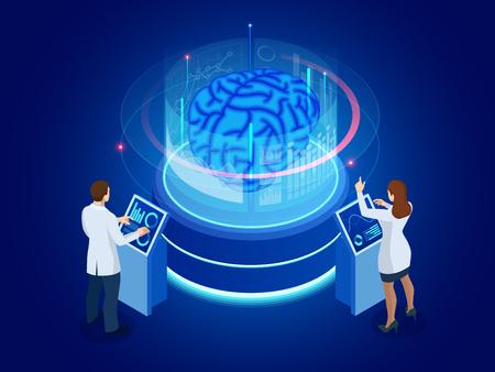 Isometric scientific development of Artificial Intelligence concept. Electric brain. Laboratory researching brain. vector illustration.