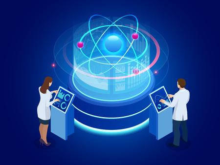 Développement de la technologie nucléaire ou atomique. Interaction de différentes études. Illustration vectorielle isométrique.
