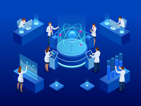 Development of nuclear or atomic technology. Interaction of different studies. Isometric vector illustration. Ilustracja