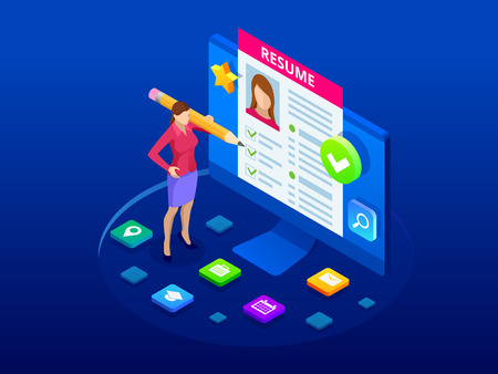 Isometric woman and cv resume documents. Recruiting advertisement, Job opportunity. Searching professional staff, work, analyzing resume, documents papers.
