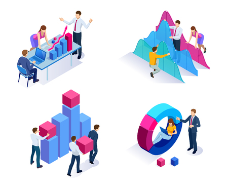 Isometric concept of analytics, strategy, investment, management, Investment, and virtual finance. Communication and digital marketing Illustration