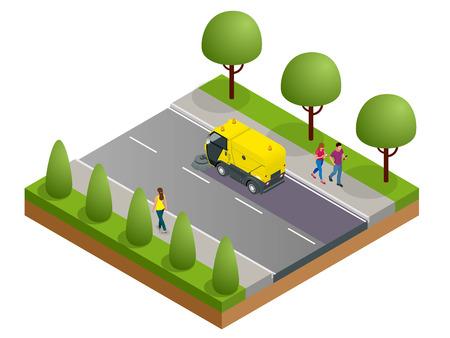 Isometric Road Sweeper Staubreiniger Kehrmaschine. Spezialfahrzeug zum Waschen von Straßen Vektorgrafik