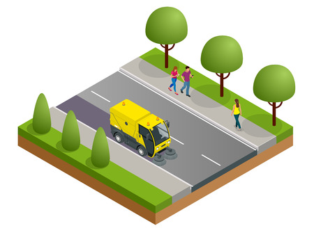 Isometric Road Sweeper dust cleaner road sweeper. Special purpose vehicle for washing road