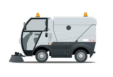 Road Sweeper Staubreiniger Straßenkehrmaschine. Spezialfahrzeug zum Waschen von Straßen. Symbol isoliert auf weiss.
