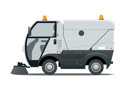 Road Sweeper dust cleaner road sweeper. Special purpose vehicle for washing road. Icon isolated on white.