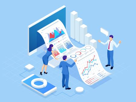 Isometrisches Konzept der Geschäftsanalyse, Analytik, Forschung, Strategiestatistik, Planung, Marketing, Untersuchung von Leistungsindikatoren Investitionen in Wertpapiere, intelligente Investitionen, strategisches Management