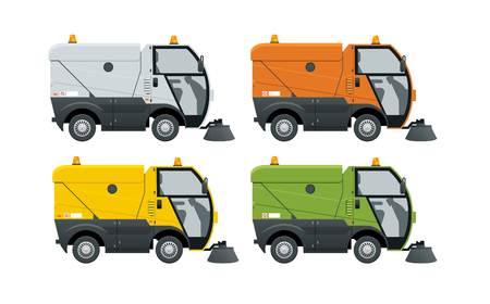 Road Sweeper Staubreiniger Straßenkehrmaschine. Spezialfahrzeug zum Waschen von Straßen. Symbol isoliert auf weiss. Vektorgrafik
